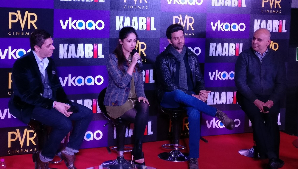 Yami Gautam and Hrithik Roshan at Kaabil press conference in New Delhi, India.