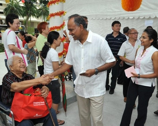 Law and Home Affairs Minister K Shanmugam while celebrating Chinese New Year
