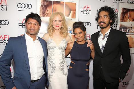 Saroo Brierley with Nicole Kidman, Priyanka Bose and Dev Patel