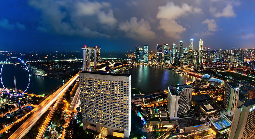Singapore,cbd,aerial view,transport system,night view, city