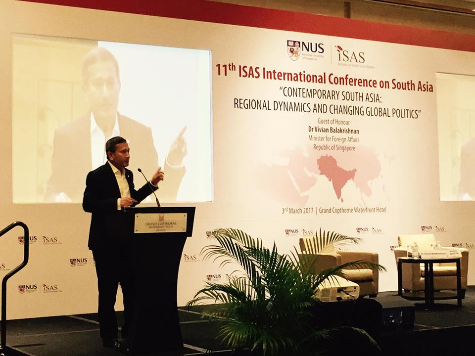 vivian balakrishnan,connectedtoindia,ISAS international conference,institute of south asian studies
