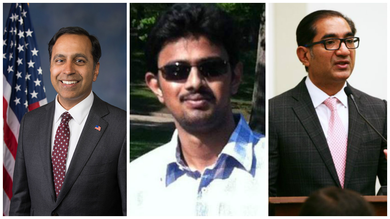 From left - Raja Krishnamoorthi, Srinivas Kuchibhotla and Sanjay Puri