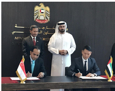 Cooperation Agreement (CA) being signed between MAS of Singapore and ADGM of Abu Dhabi.