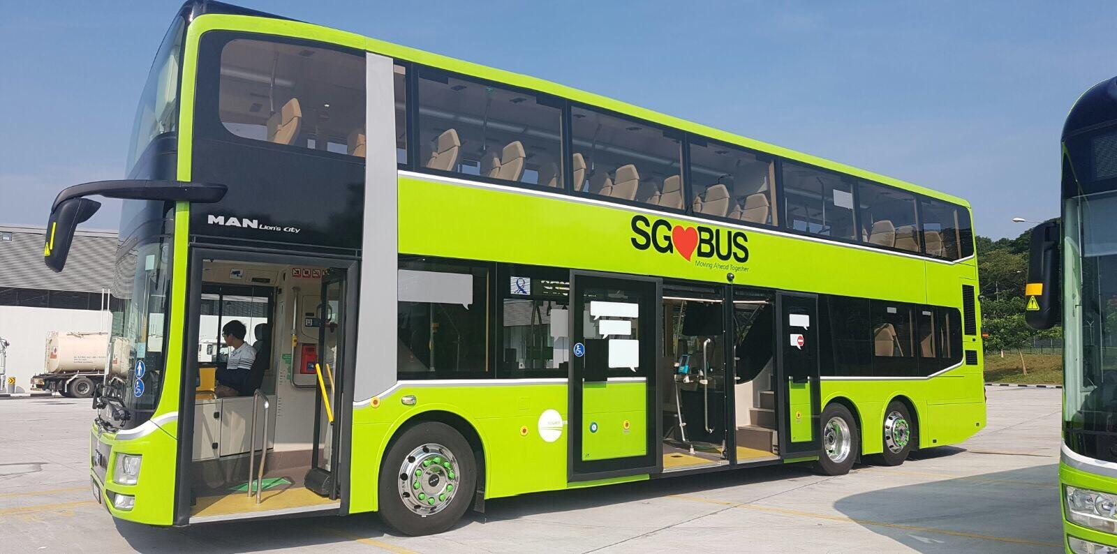 double deck bus with three doors