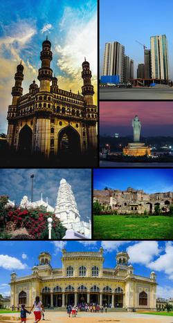 Clockwise from top left: Charminar, modern skyline, Hussain Sagar, Golconda Fort, Chowmahalla Palace and Birla Mandir.