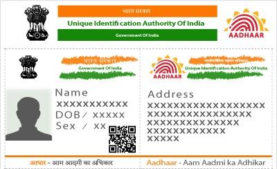 A dummy Aadhar card.