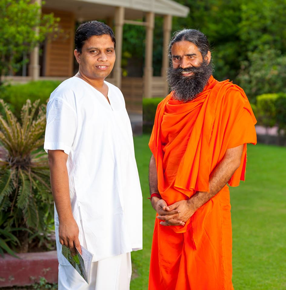 Baba Ramdev with Patanjali products founder Acharya Balkrishna.