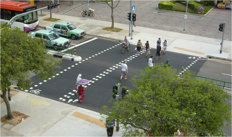 Mid-block bicycle crossings separates pedestrians and cyclists at road crossings, allowing cyclists to ride safely across roads without the need to dismount.