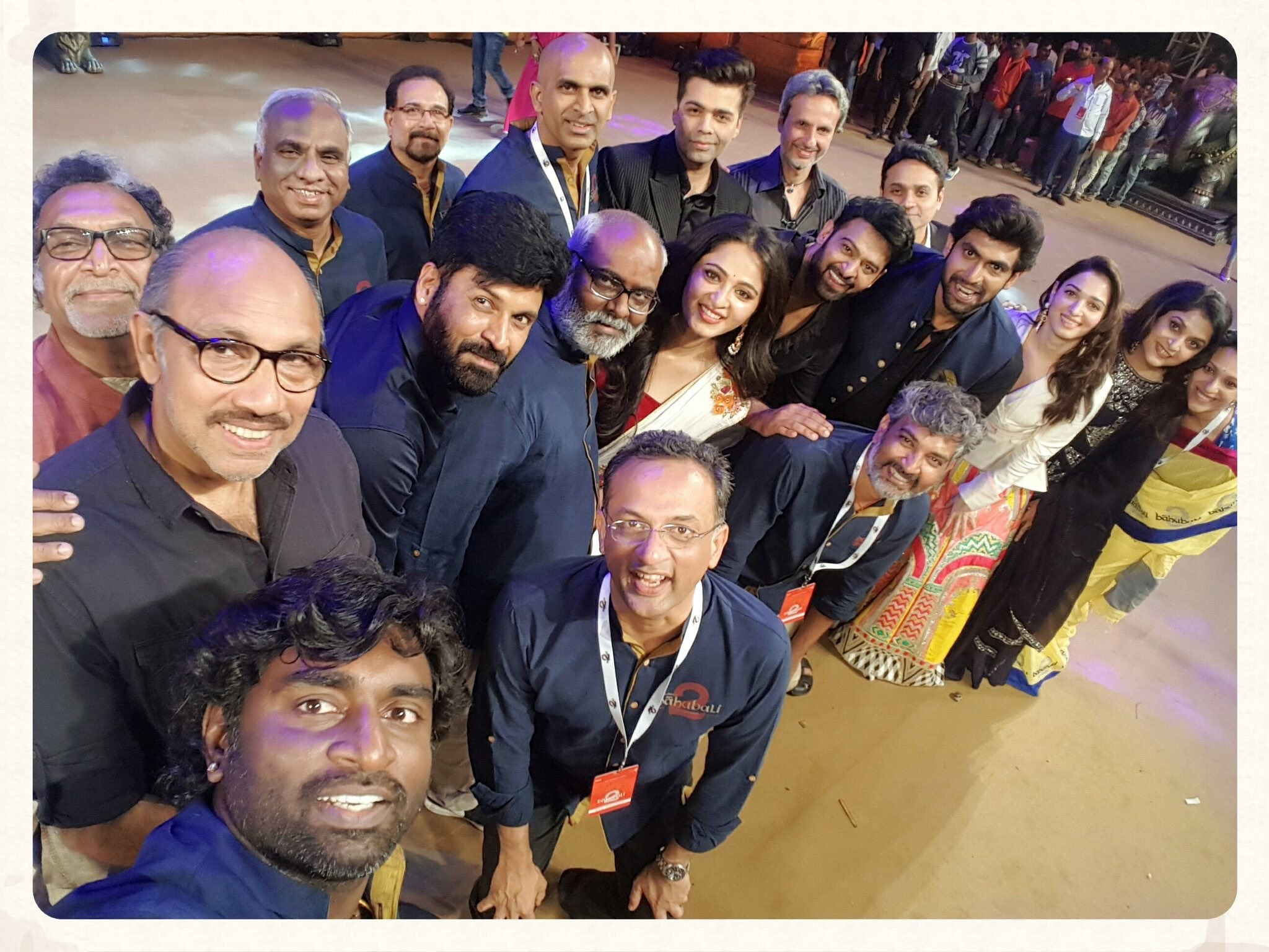 The cast and crew of Baahubali: The Conclusion at the audio launch with .Karan Johar.