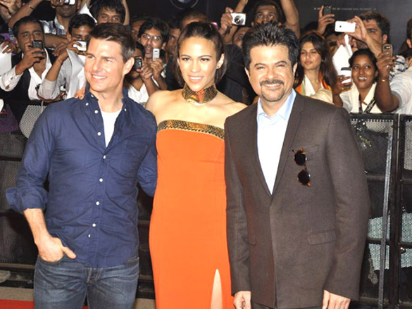 Tom Cruise (l), Paula Patton (c) and Anil Kapoor at a special screening of Mission Impossible: Ghost Protocol.