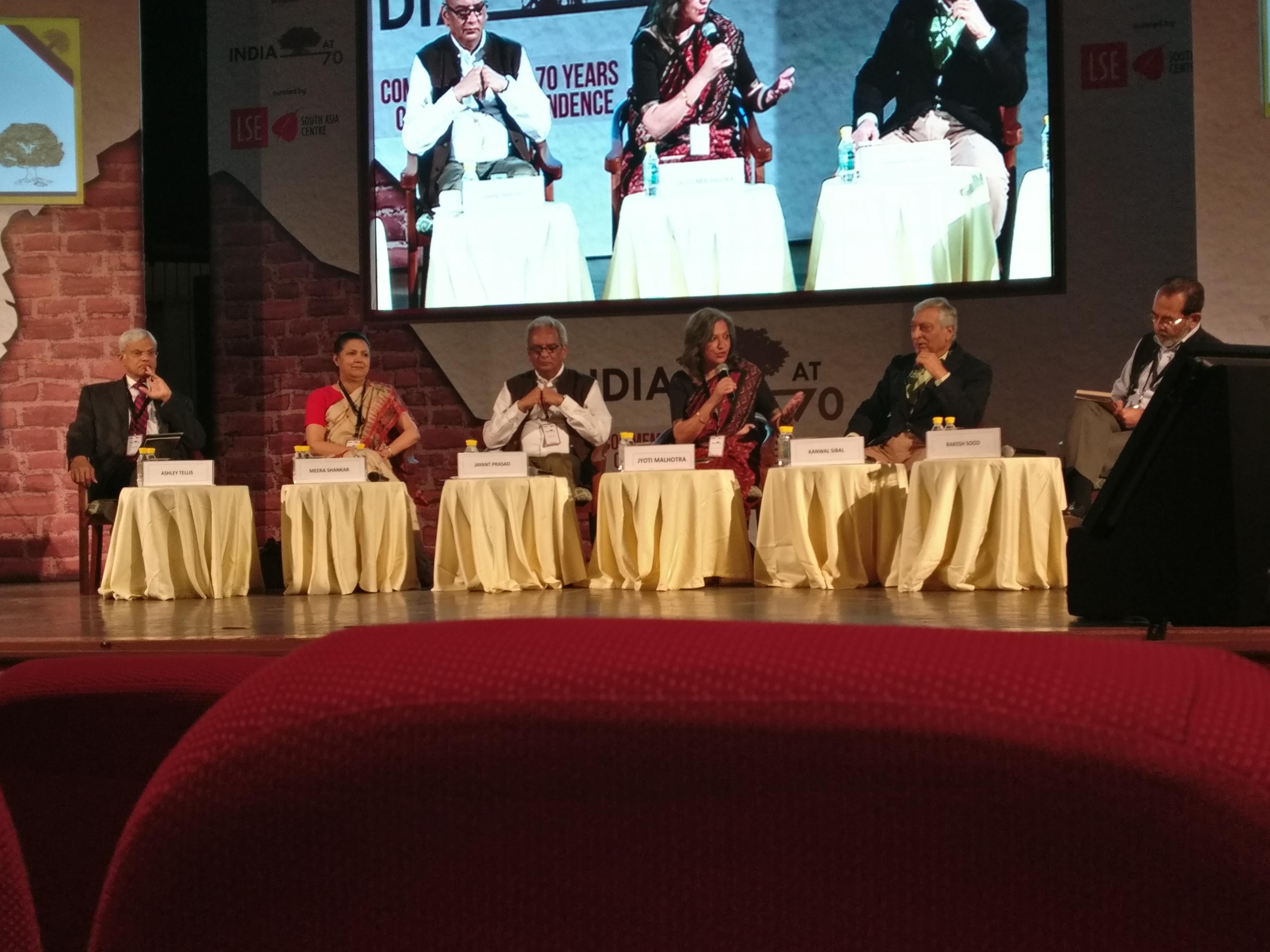 From left: Ashley J Tellis, Meera Shankar, Jayant Prasad, Jyoti Malhotra (moderator), Kanwal Sibal and Rakesh Sood.