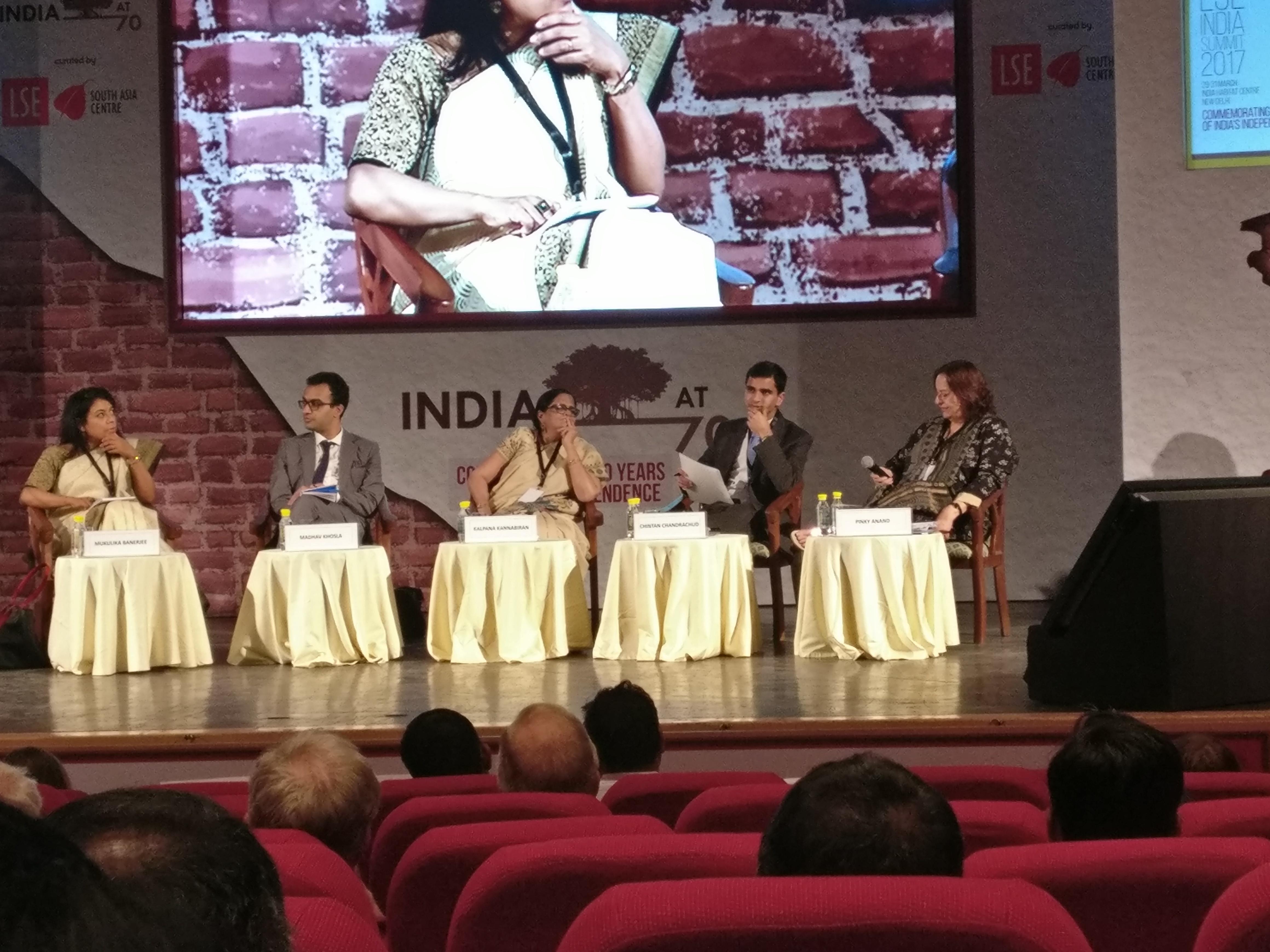 From left: Mukulika Banerjee (moderator), Madhav Khosla, Kalpana Kannabiran, Chintan Chandrachud and Pinky Anand.
