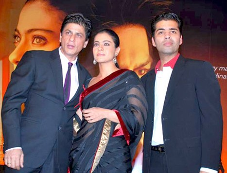 Kajol with Karan Johar (R) and Shah Rukh Khan.