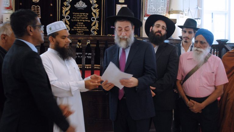 Imam Abdul Jameel Abdul Malik meets with Rabbi Moderchai Abergel at the Maghain Aboth Synagogue. Photo courtesy: Wise SG