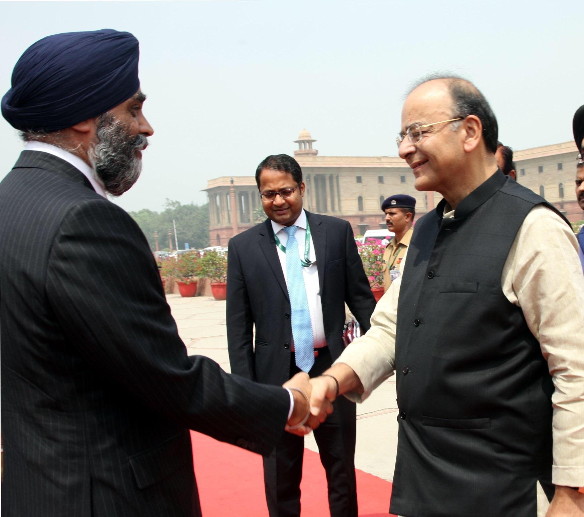 Harjit Singh Sajjan (left) meeting Arun Jaitley in New Delhi.