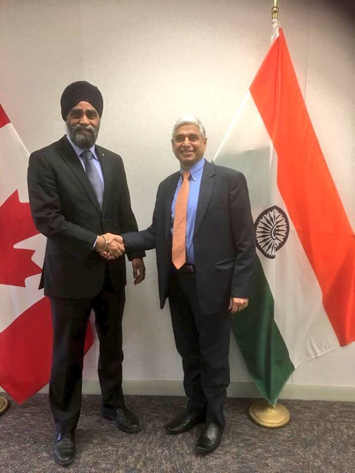 Sajjan with IHC to Canada Vikas Swarup.