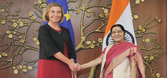 EU High Representative Federica Mogherini (left) meets Indian Minister for External Affairs Sushma Swaraj in New Delhi.