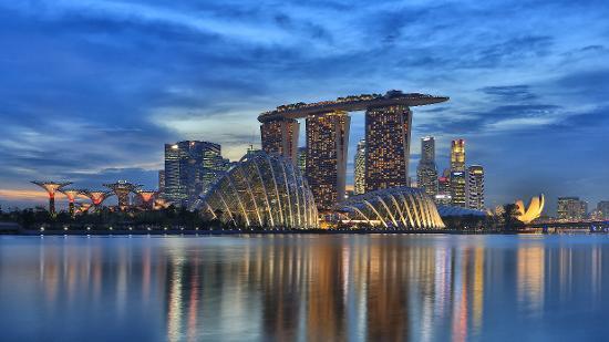 Skyline and Reflection of Marina Bay Sands, Gardens by the Bay, Marina Bay