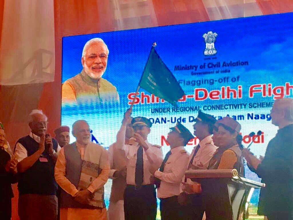Indian PM at the launch of the UDAN scheme in Shimla.