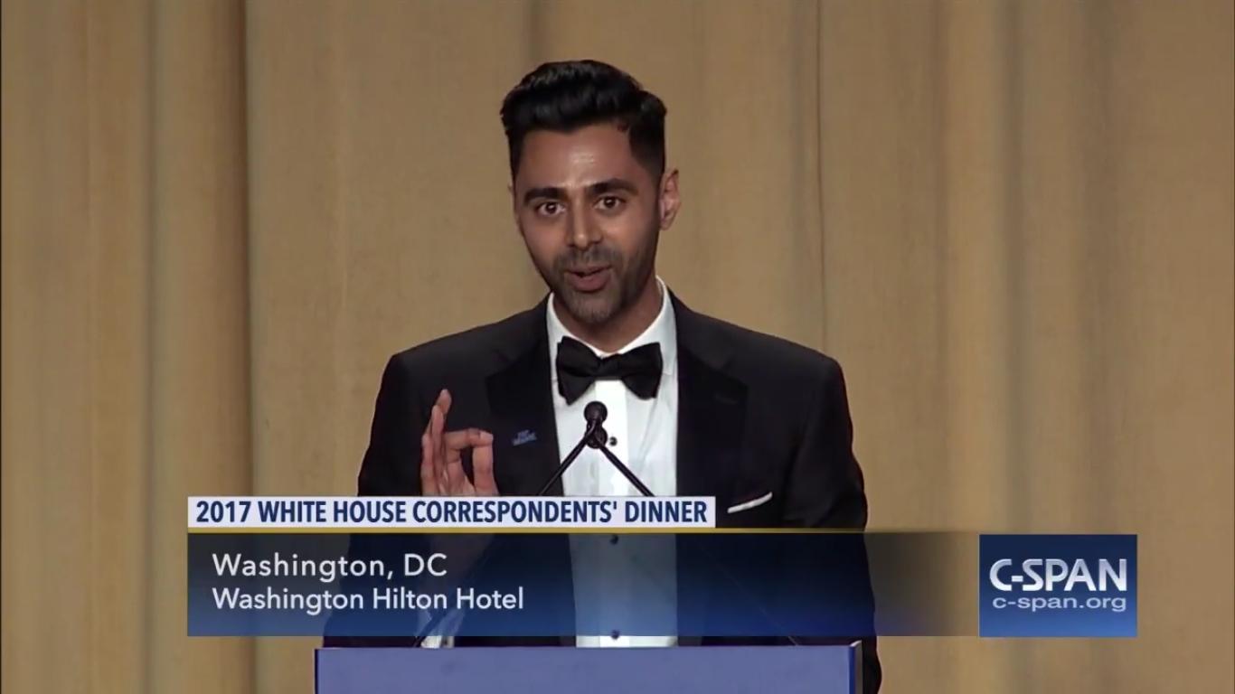Hasan Minhaj at the White House Correspondents' Dinner.