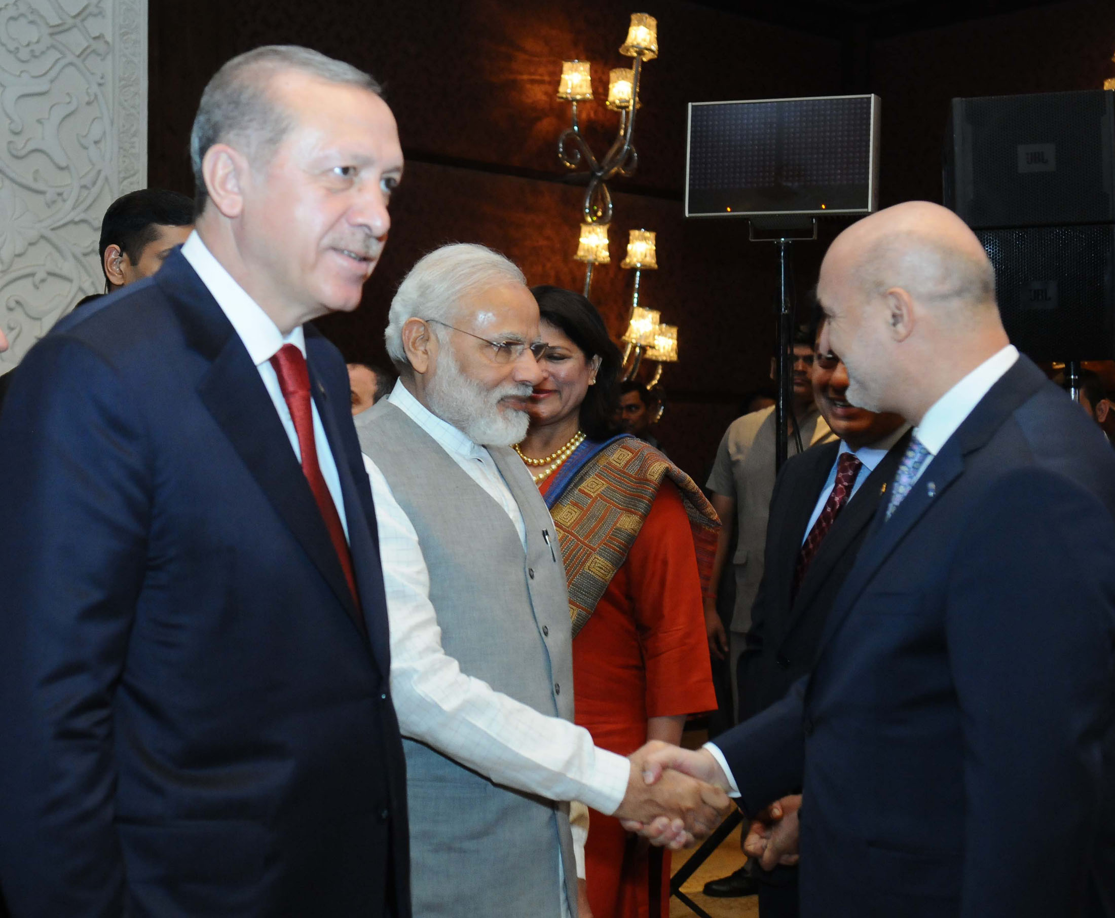 Prime Minister Narendra Modi and the President of Turkey Recep Tayyip Erdogan (left) at the India-Turkey Business Summit, in New Delhi.
