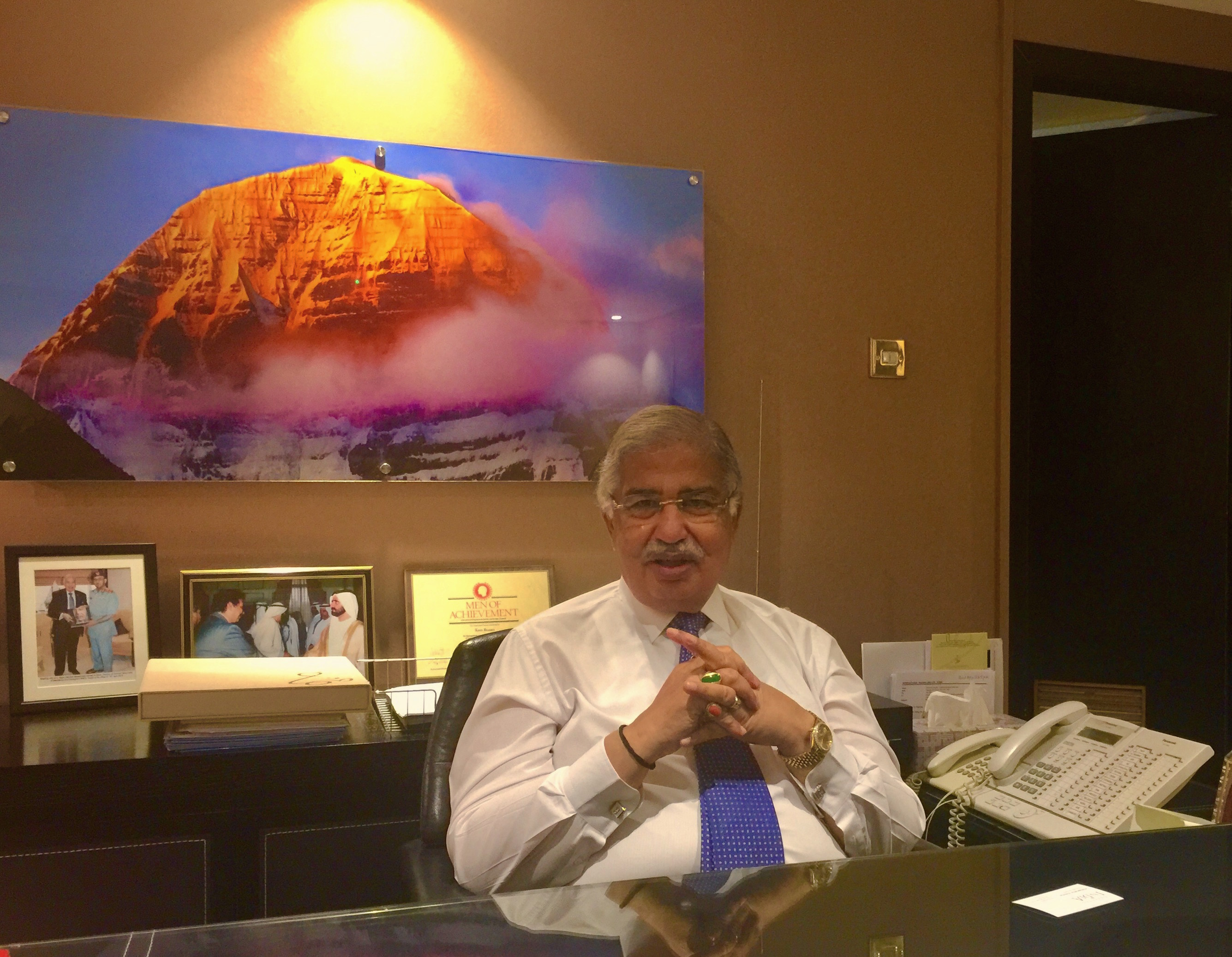 Dr Ram Buxani, Chairman, ITL Cosmos Group in his office in Dubai.