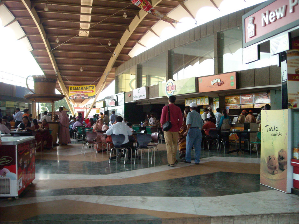 A food court in a Mumbai mall.