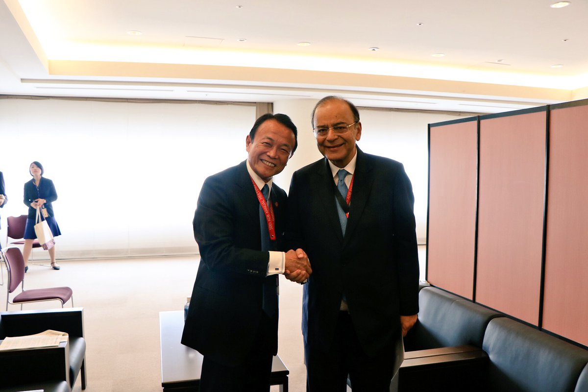 Finance Minister Arun Jaitley discussed multilateral and bilateral issues with Japan's Deputy PM & Finance Minister Taro Aso in Yokohama
