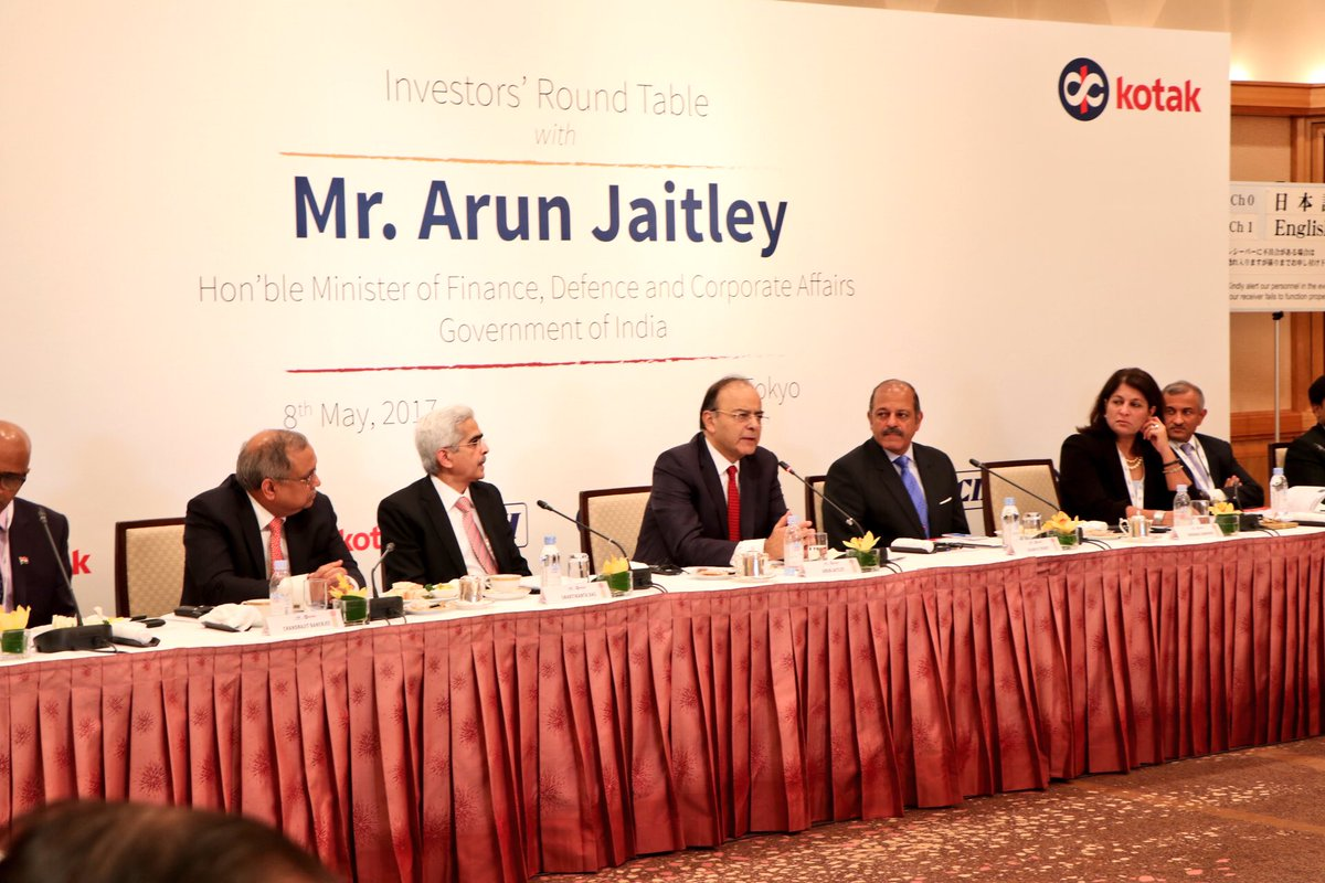 Finance Minister Arun Jaitley apprising Investors' Roundtable in Tokyo organized by CII & Kotak Bank of far-reaching changes in Indian economy.