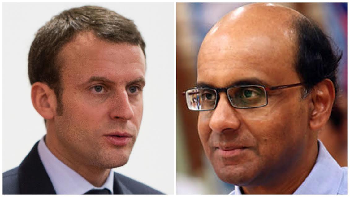 Emmanuel Macron, President-elect of France ( left), Tharman Shanmugaratnam, Deputy Prime Minister of Singapore