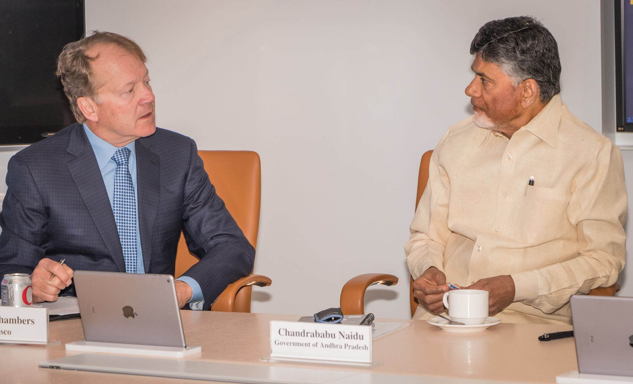 Cisco System chairman John Chambers and Andhra Pradesh chief minister N Chandrababu Naidu at Cisco headquarters.