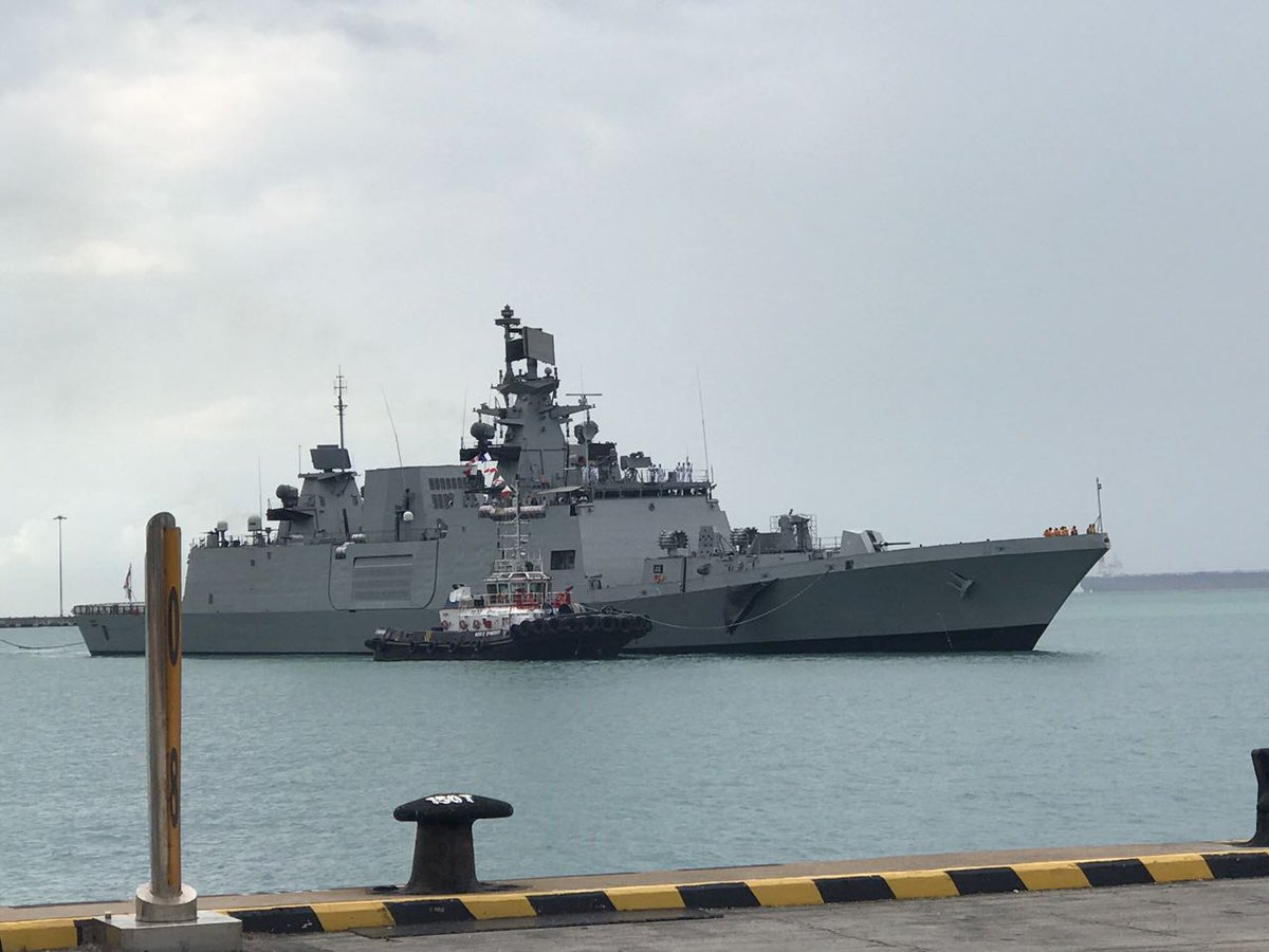 Flagship of Eastern Fleet INS Sahyadri entering Singapore harbour.