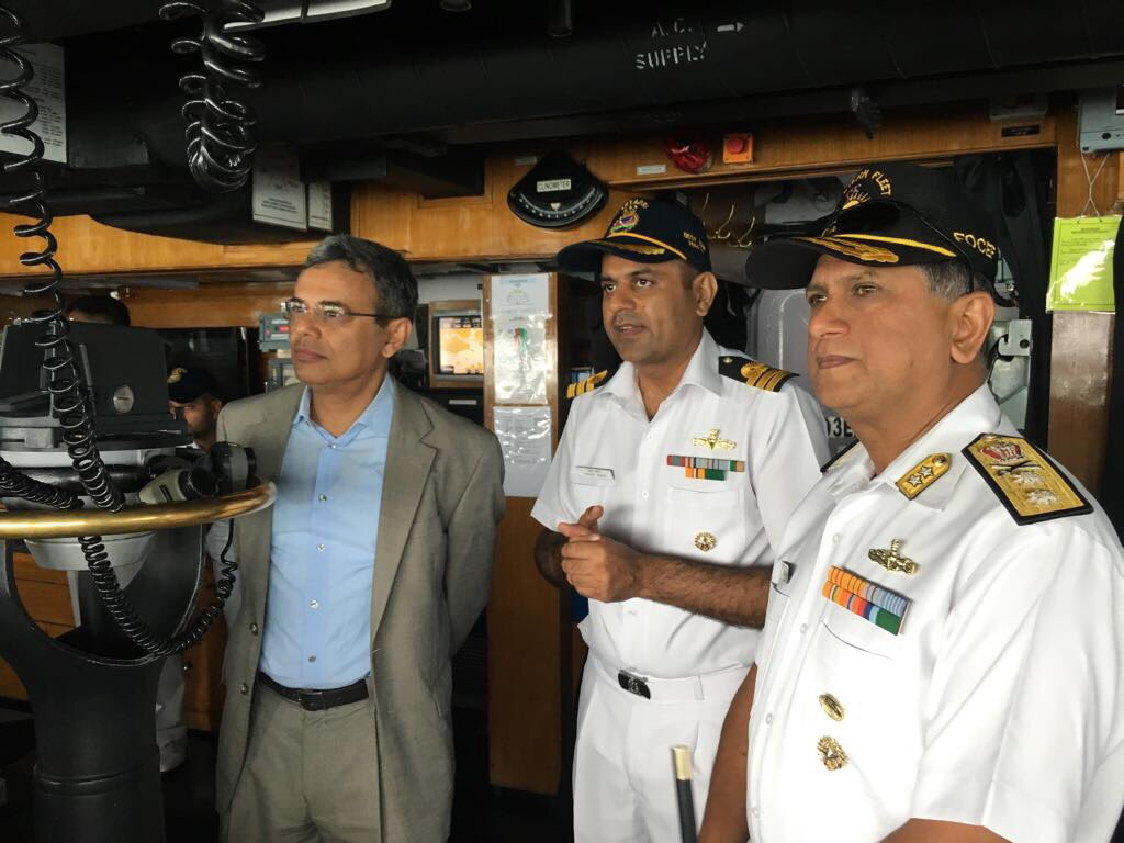 Flag Officer Commanding Eastern Fleet (FOCEF) Rear Admiral B Dasgupta and Indian ambassador to Singapore Jawed Ashraf on board INS Sahyadri