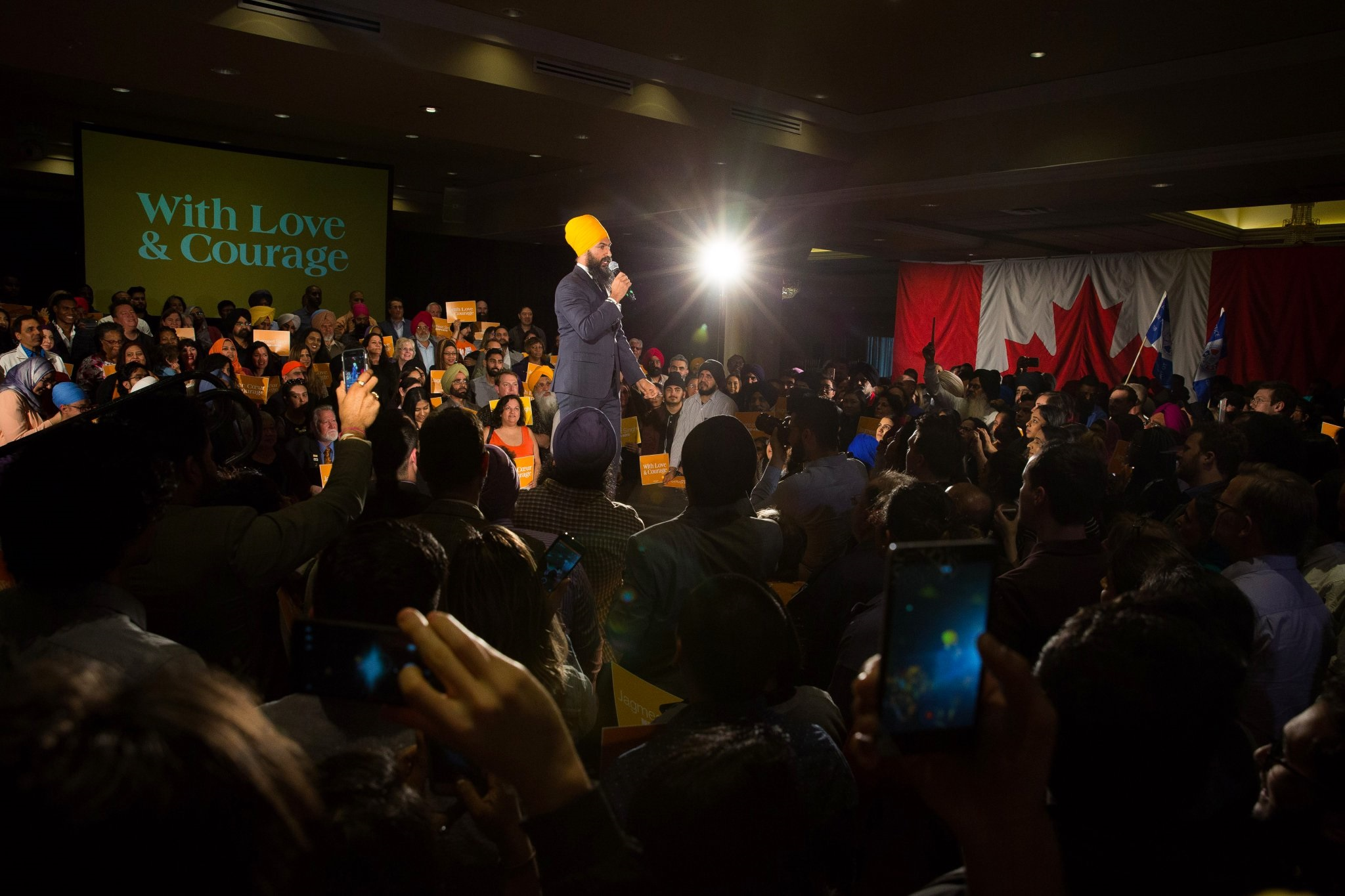 Jagmeet Singh announcing his bid in Brampton, Toronto