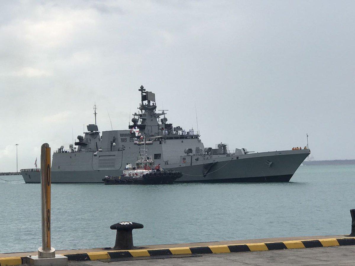 Flagship of Eastern Fleet INS Sahyadri entering Singapore harbour.