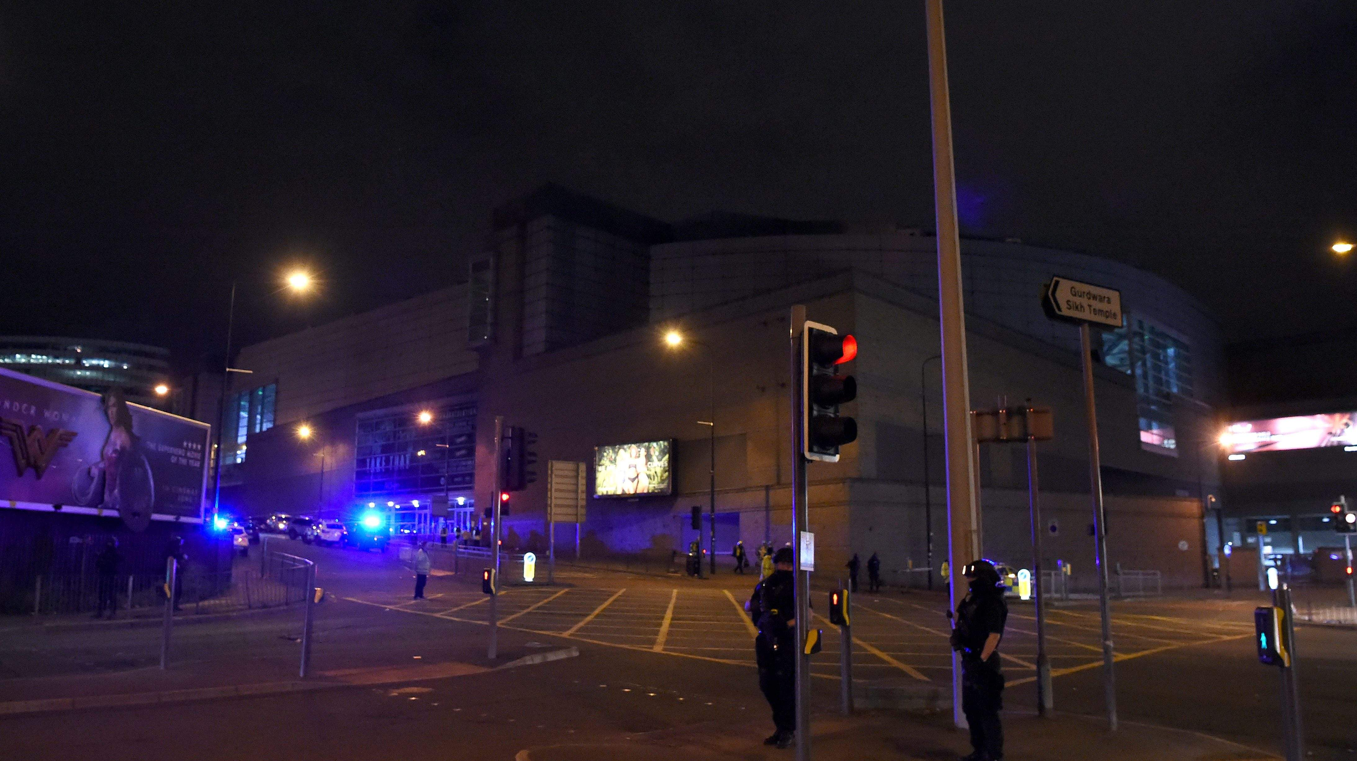 Police present at the Manchester Arena in United Kingdom where a bomb explosion killed 19 people and injured 50 others.