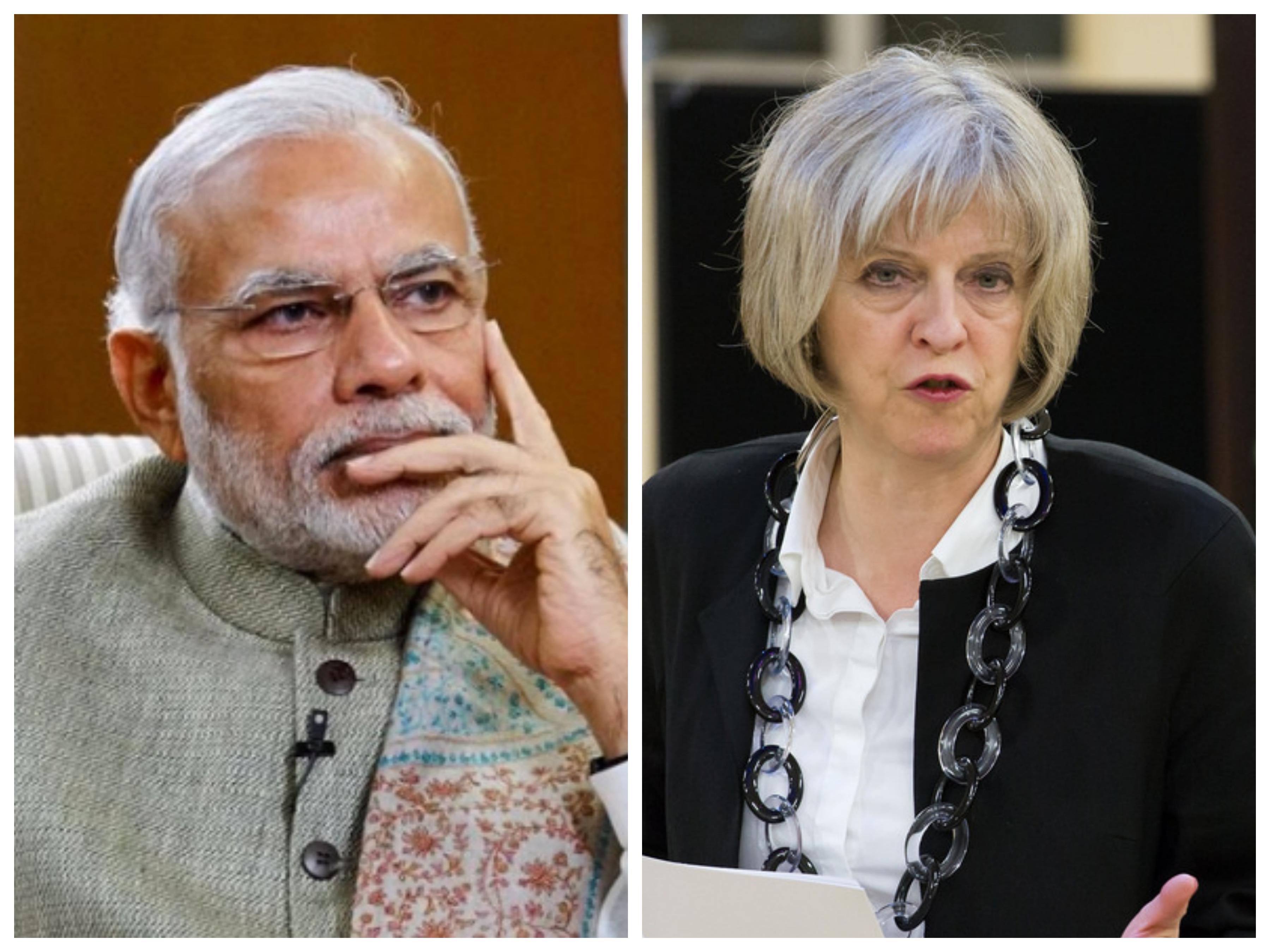 Indian PM Narendra Modi (left) and his UK counterpart Theresa May.