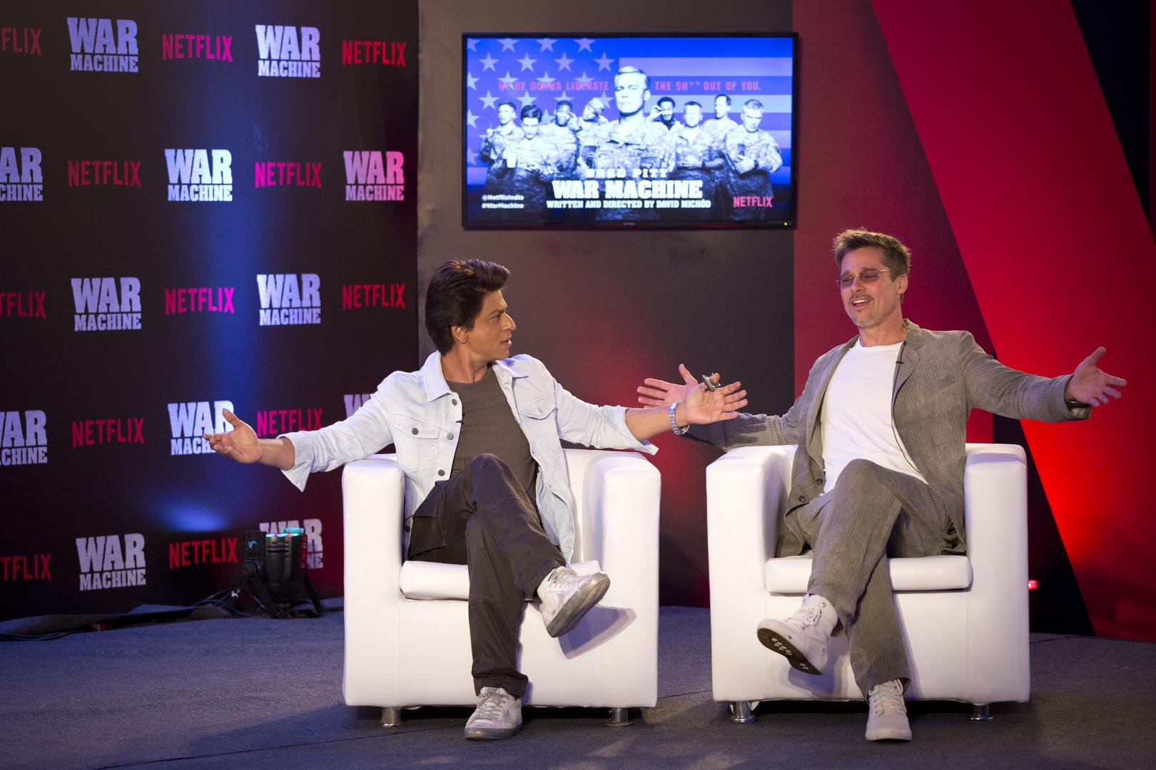 Brad Pitt (right) with Shah Rukh Khan.