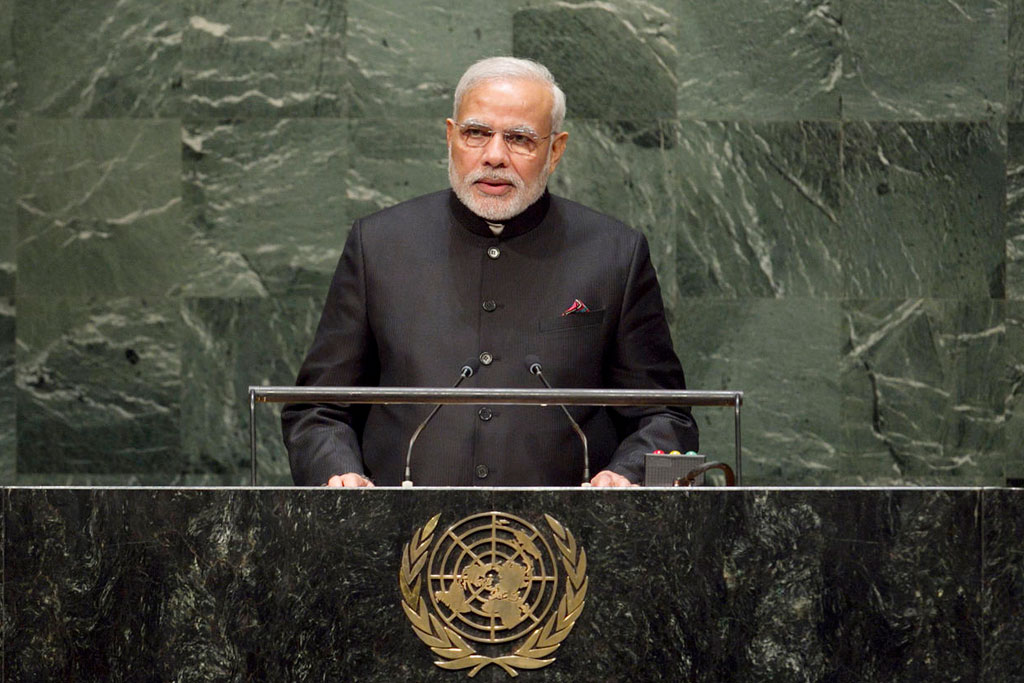 Indian PM Narendra Modi addressing the UN General Assembly.