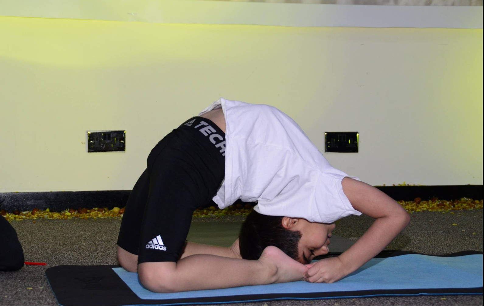 Ishwar performing his yoga routine.