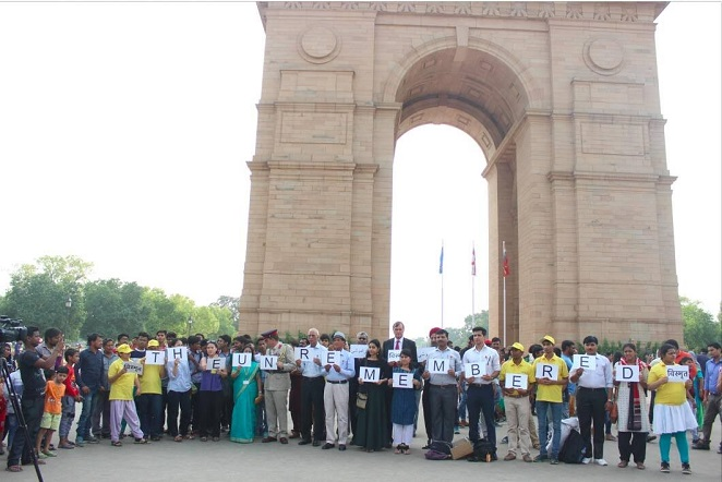 A mirror event in memory of Indian Labour Corps was held at the same time at India Gate in New Delhi.