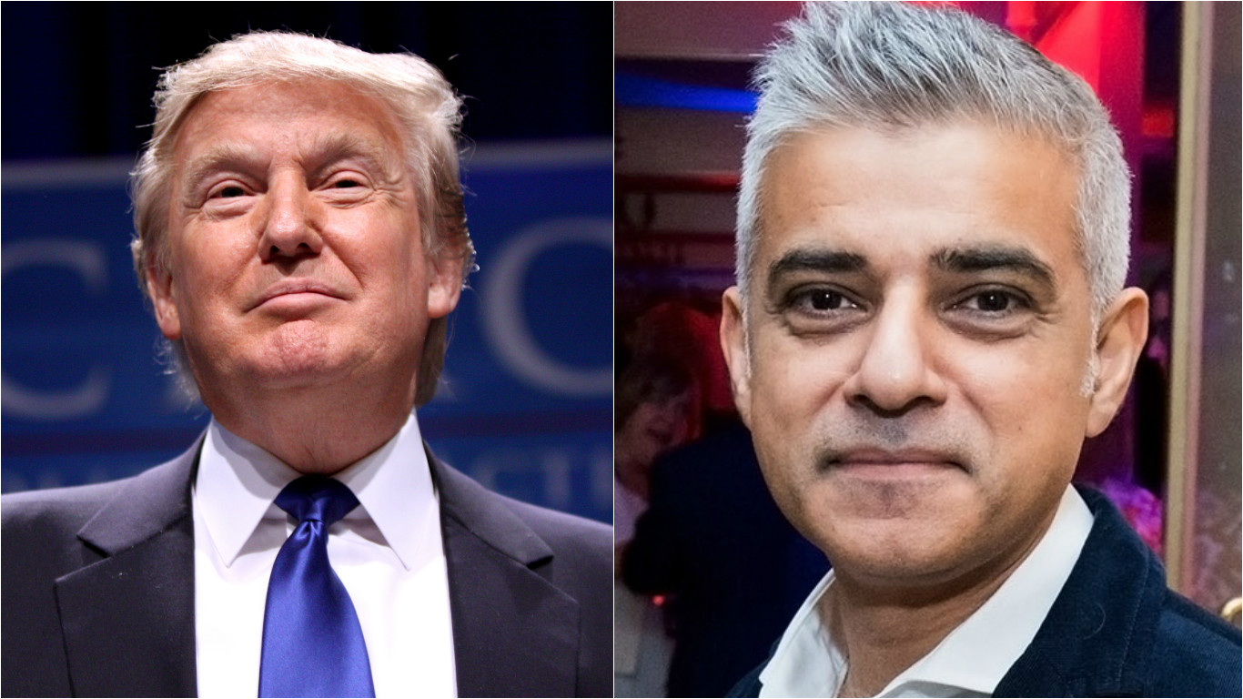 US President Donald Trump (left) and London's Mayor Sadiq Khan.
