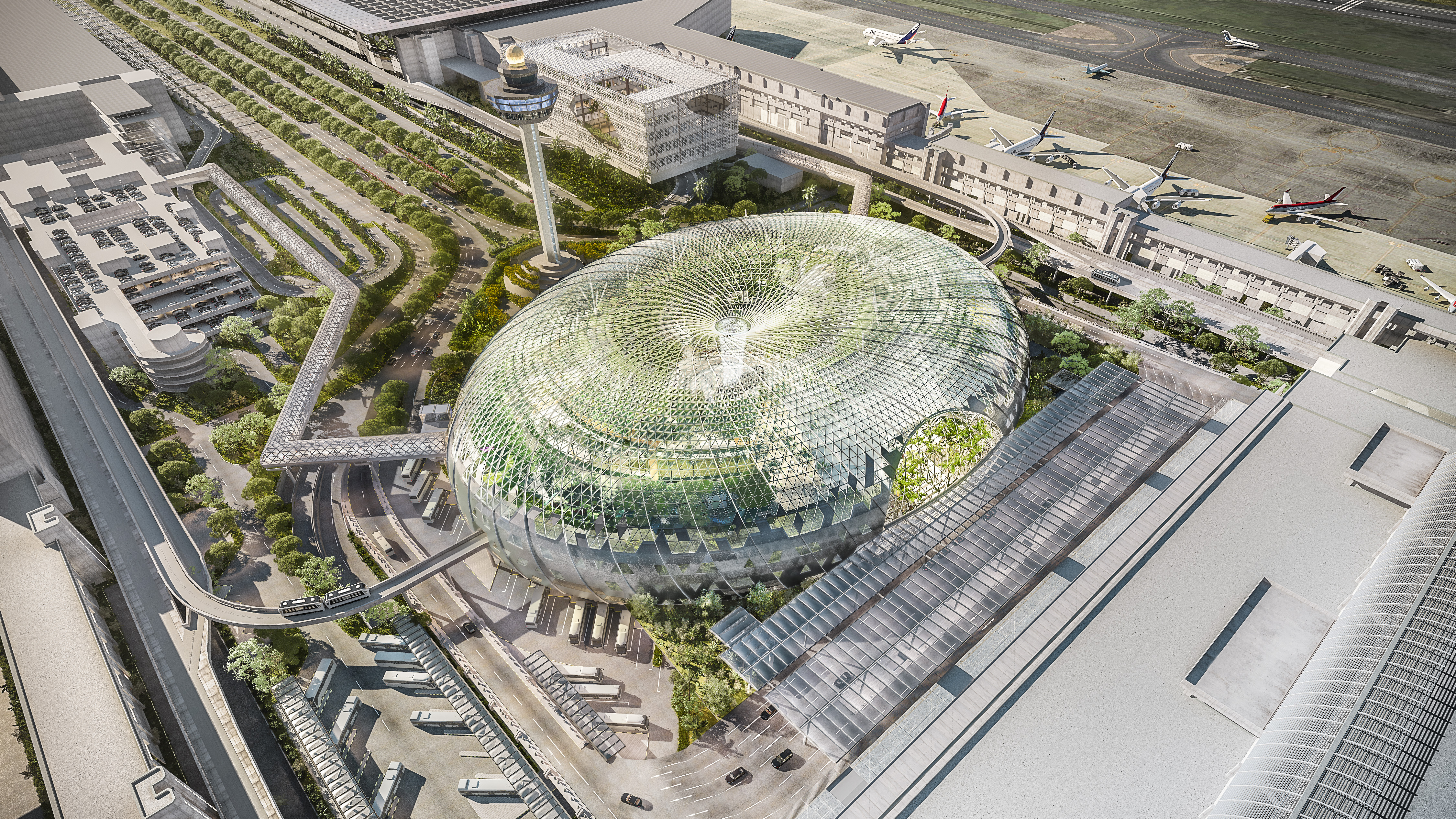 Aerial view of Jewel Changi Airport. Photo courtesy: Jewel Changi Airport Development