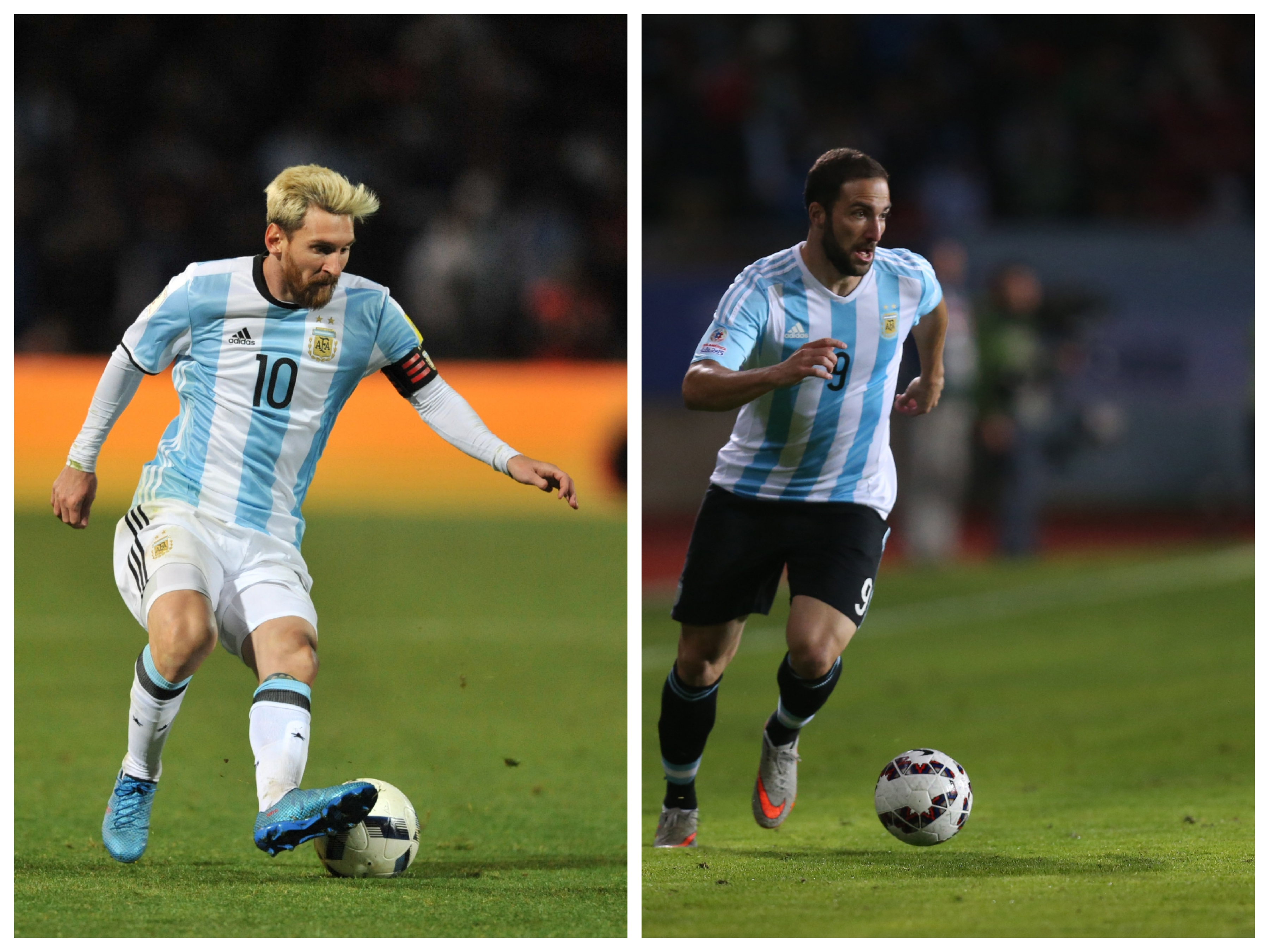 Lionel Messi (left) and Gonzalo Higuain will be absent for the match.