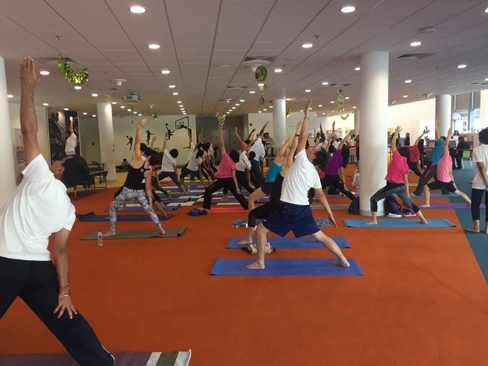 IDY session held at Sports Hub library. Photo courtesy: India High Commission of Singapore Facebook