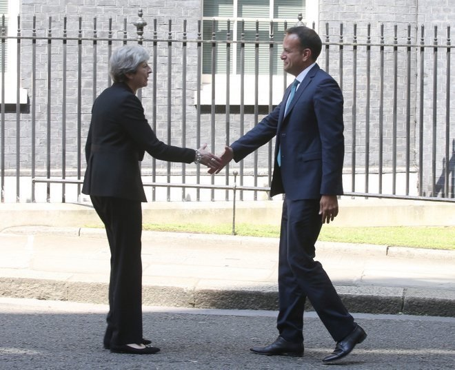 Ireland PM leo Varadkar (right) shakes hands with his UK counterpart Theresa May outside 10 Downing Street.