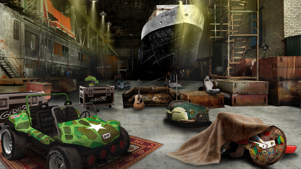 Gorillaz App's Jaguar Land Rover recruitment area in the form of a 360-environment situated in the garage of the band's home.