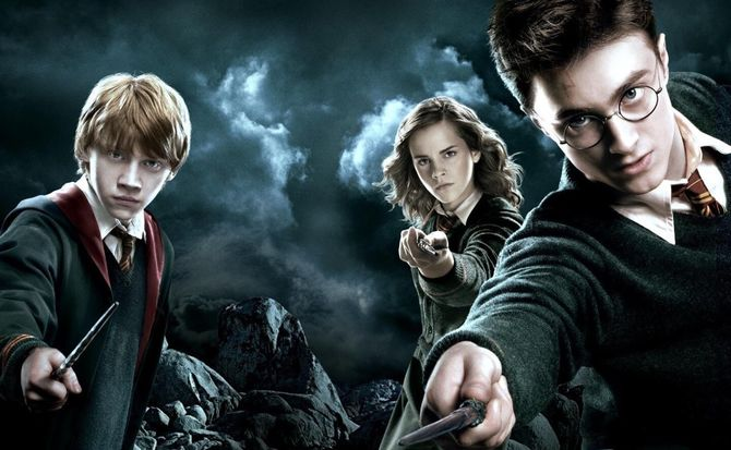 Daniel Radcliffe (right) as Harry Potter, Emma Watson (centre) as Hermione Granger and Rupert Grint as Ron Weasley.