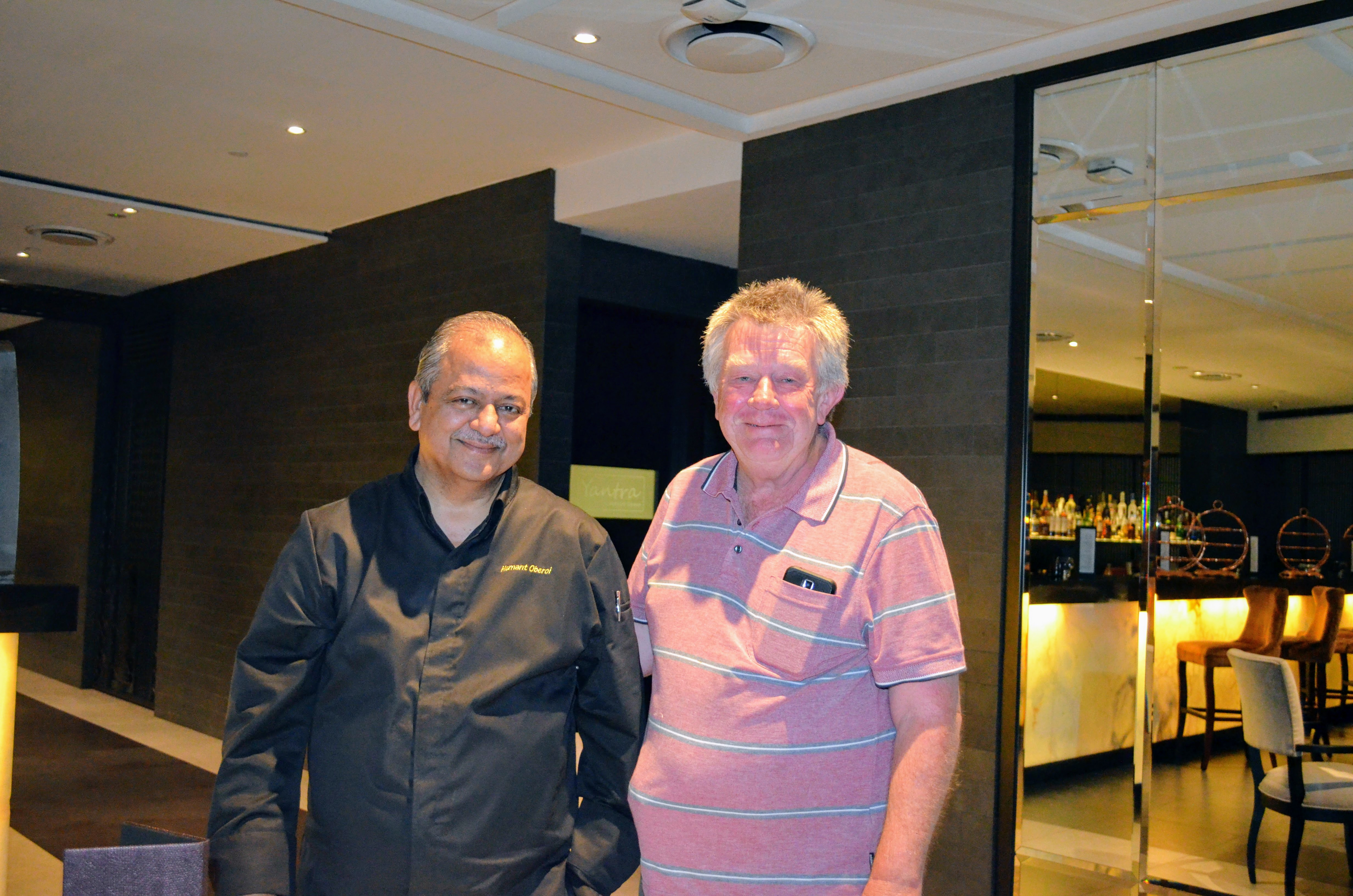 When a happy customer cuts into the conversation to thank and greet chef Hemant Oberoi Photo: Connected to India