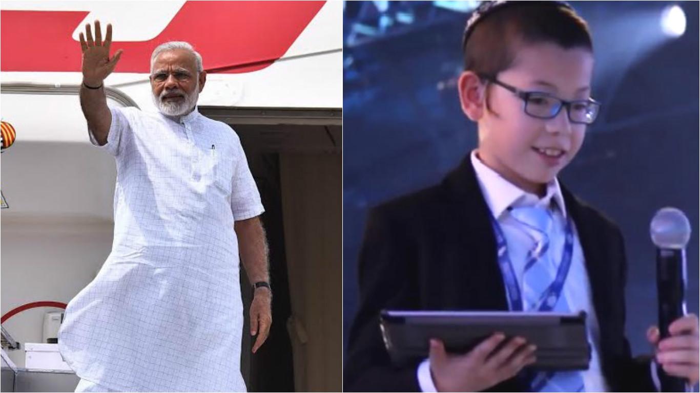 Indian Prime Minister (left) and Moshe Holtzberg.